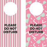 Printable Doorknob Hangers. Two Door Knob Tags that read Please do not disturb and have striped and retro patterns Stock Photo