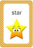 Printable dziecko kształta Błyskowa karta, gwiazda Zdjęcia Stock