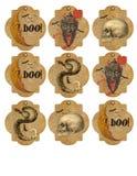 Printable etykietki prześcieradło czaszka wąż Printable etykietki - rocznik Halloween - księżyc - nietoperze - ilustracja wektor