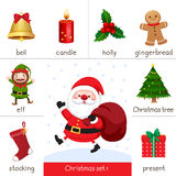 Printable flash card for Christmas set and Santa Claus Royalty Free Stock Images