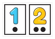 Printable flash card collection for numbers with the corresponding number of dots arranged in groups for preschool / kindergarten. Kids | let`s learn numbers vector illustration