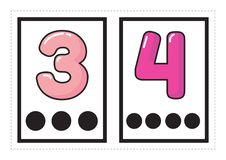 Printable flash card collection for numbers with the corresponding number of dots arranged in groups for preschool / kindergarten stock illustration