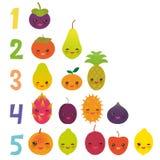 Printable flash card for numbers for preschool kindergarten kids kawaii fruit Pear Mangosteen tangerine papaya persimmon lime apri. Cot dragon fruit figs mango stock illustration