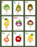 Printable flashcard English alphabet from I to Q with fruits and Royalty Free Stock Photos