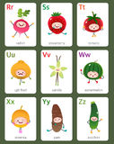 Printable flashcard English alphabet from R to Z with fruits and Stock Photos