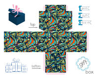 Printable Gift Box With Abstract Crazy Pattern Stock Photos