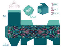 Printable Gift Box With Abstract Ethnic Pattern Stock Photo