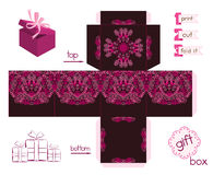 Printable Gift Box With Abstract Lacy Pattern. Template for cubic gift box with lid. Lacy pattern in shadows of pink. Easy for installation - print, cut, fold it Royalty Free Stock Photo