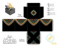 Printable Gift Box With Abstract Mexican Pattern. Template for cubic gift box with lid. Favor box with bright ethnic pattern. Easy for installation - print, cut Royalty Free Stock Photo