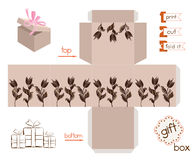 Printable Gift Box With Abstract Tulips Royalty Free Stock Images