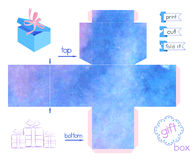 Printable Gift Box With Blue Blurring Watercolor Imitation. Template for cubic paper box with lid. Abstract texture favor box. Vector illustration vector illustration