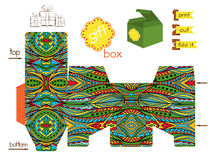 Printable Gift Box With Bright Ethnic Pattern Royalty Free Stock Photo
