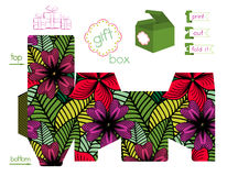 Printable Gift Box With Bright Flowers Pattern Royalty Free Stock Photography