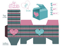 Printable Gift Box With Chevron Pattern Royalty Free Stock Photos