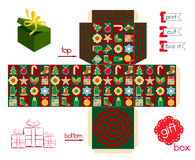 Printable Gift Box Christmas Season. Template for cubic gift box with lid. Christmas decors and traditional colors at holiday pattern. Easy for installation Stock Photo