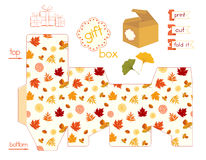 Printable Gift Box With Colorful Autumn Leaves. Template for cubic gift box with lid. Favor box with bright different leaves. Fall leafage colors. Easy for Royalty Free Stock Images