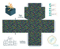 Printable Gift Box With Confetti Pattern Royalty Free Stock Photo