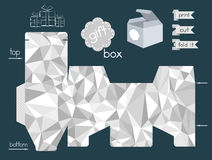 Printable Gift Box With Crumpled Paper Texture Imitation Royalty Free Stock Image