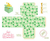 Printable Gift Box With Cute Flowers Stock Image
