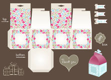 Printable Gift Box With Floral Pattern Royalty Free Stock Photography