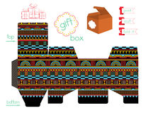 Printable Gift Box With Geometric Pattern Royalty Free Stock Images
