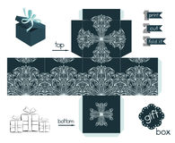 Printable Gift Box With Line Art Pattern Royalty Free Stock Photos