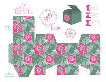 Printable Gift Box With Poppies Pattern Stock Photography
