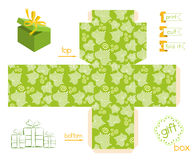 Printable Gift Box Striped Leaves Pattern Stock Image