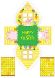 Printable gift easter house with banny, eggs and carrots. Easter Decor template 3 d house. Easy for installation - print, cut, fold it. House 3d Paper Craft Stock Image