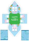 Printable gift easter house with banny, eggs and carrots. Easter Decor template 3 d house. Easy for installation - print, cut, fold it. House 3d Paper Craft Royalty Free Stock Photo