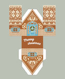 Printable gift gingerbread house with christmas glaze elements. New Year Decor template 3 d . Royalty Free Stock Images