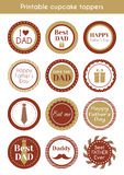 Printable hipster cupcake toppers for fathers day Stock Photos