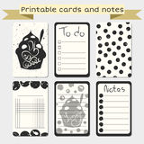 Printable journaling cards. Notes designs. Royalty Free Stock Photo