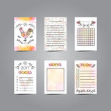 Printable Journaling Cards with Rooster Illustration. Line Style. Bullet Jornal Pages with Watercolor Background. Vector Set of Notes and To Do List. Planner stock illustration