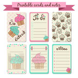 Printable journaling cards. Sweet notes. To do list with cupcakes illustration. Cute vector design stock illustration