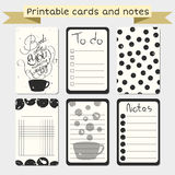 Printable journaling karty Elegancki robić liście royalty ilustracja