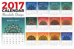 Printable monthly calendar 2017 design. With colors of seasons and mehndi tattoo. 2017 wall calendar template start with Sunday and support for 8.5x11 inches Royalty Free Stock Photography