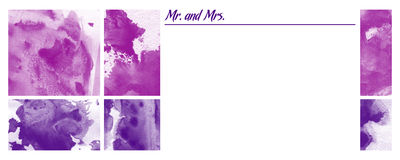 Printable Multi Purpose Invitation. On abstract artistic RGB magenta and purple background with Mr. and Mrs. abbreviations Royalty Free Stock Image