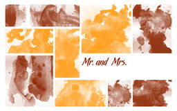 Printable Multi Purpose Invitation. On abstract artistic yellow and brown background with Mr. and Mrs. abbreviations Royalty Free Stock Image