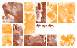 Printable Multi Purpose Invitation. On abstract artistic yellow and brown background with Mr. and Mrs. abbreviations Stock Photos