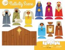 Printable narodzenie jezusa set ilustracji