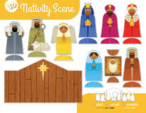 Printable Nativity Set. Nativity Scene. Print, cut out and assemble Stock Image