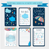 Printable notes, journal cards with autmun illustrations. Template for scrap booking, wrapping, notepad, notebook, diary. Royalty Free Stock Photos