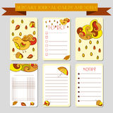 Printable notes, journal cards with autmun illustrations. Template for scrap booking, wrapping, notepad, notebook, diary. Royalty Free Stock Images
