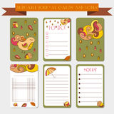 Printable notes, journal cards with autmun illustrations. Template for scrap booking, wrapping, notepad, notebook, diary. Royalty Free Stock Image