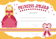 Printable princess certificate has a pretty pink Royalty Free Stock Images