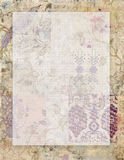 Printable rocznika szyka grungy podławego stylu kwiecisty stacjonarny na collaged rocznika tapetowym tle z przestrzenią dla tekst Obraz Stock