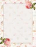 Printable rocznika szyka podławego stylu kwiecista róża stacjonarna na piórkowym tle ilustracji