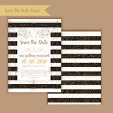 Printable Save the date with geometric gold frame in linear style. element for design with menu and RSVP cards, leaves Royalty Free Stock Photography