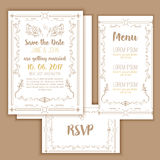 Printable Save the date with geometric gold frame in linear style. element for design with menu and RSVP cards, leaves Stock Photo